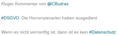 """Auf LfDI-Homepage gespiegelter Tweet mit der Überschrift """"Die Horrorszenarien haben ausgedient"""""""
