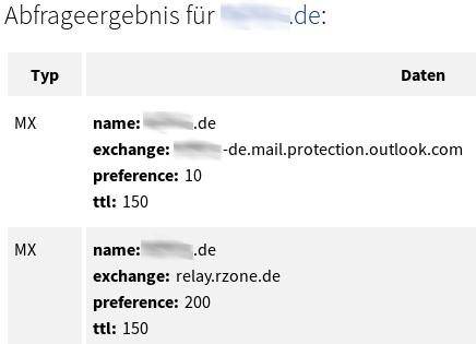 Mailserver einer Schule mit DE-Domain, von Microsoft gehostet