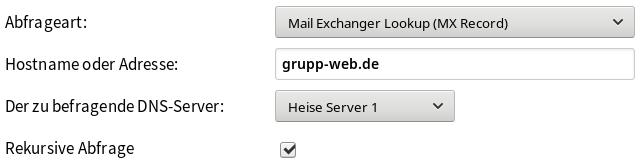 MX-Record-Abfrage für die Domain grupp-web.de