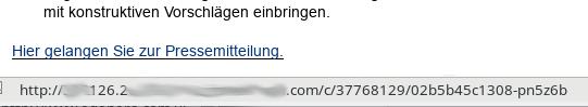 Tracking-Link in einer Mail - wenn man die Maus darüber schweben lässt